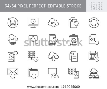 Backup line icons. Vector illustration with minimal icon - recovery data, laptop, system crash repair, database, cloud transfer, recycle bin, folder pictogram. 64x64 Pixel Perfect Editable Stroke.