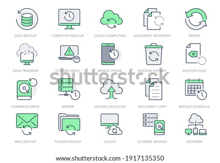 Backup line icons. Vector illustration with minimal icon - recovery data, laptop, system crash repair, database, cloud transfer, recycle bin, folder pictogram. Green Color, Editable Stroke.