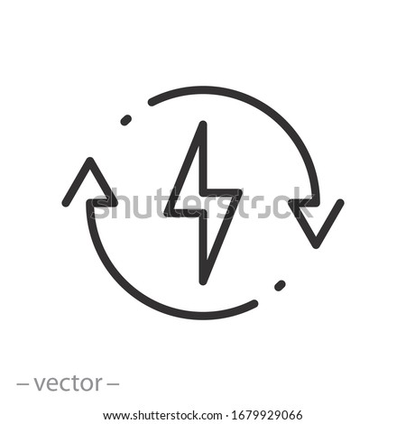 backup power engine icon, auto supply battery energy, consumption voltage sustainable, lightning bolt, thin line web symbol on white background - editable stroke vector illustration eps10