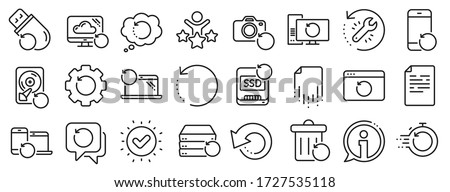 Backup, Restore data and recover document. Recovery line icons. Laptop renew, repair and phone recovery icons. Drive fix, restore information and return data. Backup document. Vector Сток-фото ©
