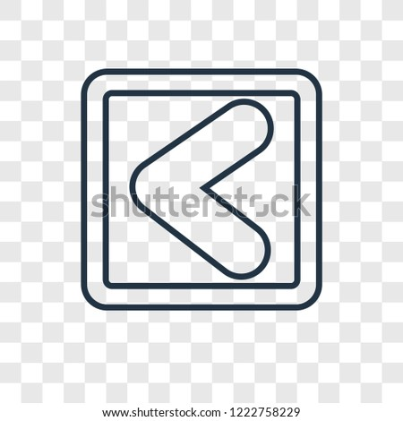 Backward Arrow concept vector linear icon isolated on transparent background, Backward Arrow concept transparency concept in outline style