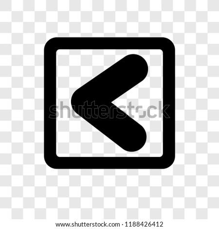 Backward Arrow vector icon isolated on transparent background, Backward Arrow transparency logo concept