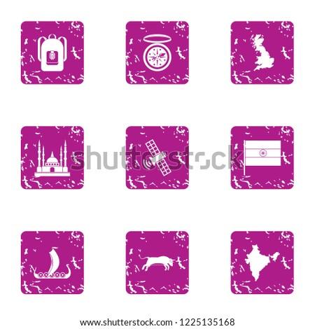 Backward country icons set. Grunge set of 9 backward country vector icons for web isolated on white background