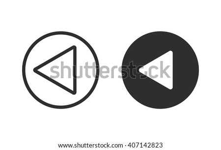 Backward  vector icon. Black  illustration isolated on white  background for graphic and web design.