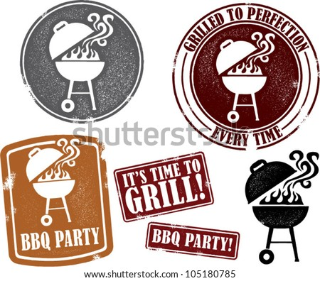 Backyard BBQ Grilling Party Stamps - stock vector