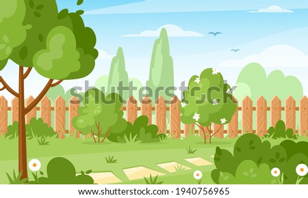 Backyard. Vector illustration of house backyard with trees, bushes, green grass lawn, flowers and wood fence. Horizontal garden banner. Spring or summer landscape. Patio area for BBQ summer parties.