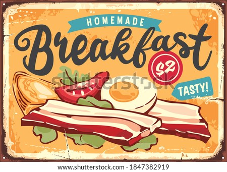 Bacon, boiled eggs and ingredients retro tin sign ad for diner or restaurant. Breakfast menu vintage food poster layout. Vector sign. Сток-фото ©