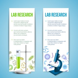 Bacteria and virus lab research vertical banners with test tube and microscope isolated vector illustration