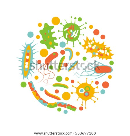 Bacterial microorganism in a circle isolated on white background. Flat style. Stock vector illustration of different germs, primitive organisms.