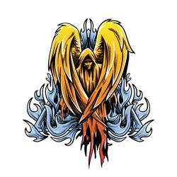 bad angel blue fire illustration