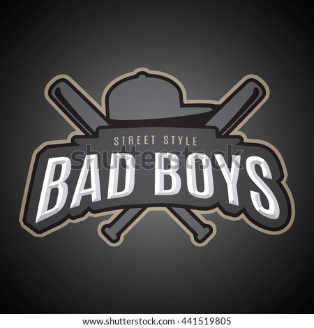Bad boys. Modern vector emblem on youth subjects.