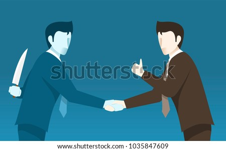 Bad Businessman Betray to the Other, Concept iDea of Bad Business People. Simple Flat Vector.