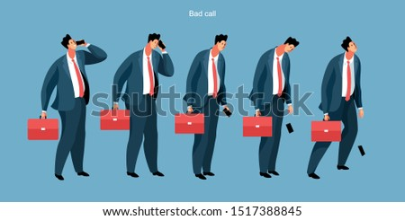 Bad call. Set of businesmen in office clothes, with briefcases and smartphones. Comic male characters with different emotions, from joy to depression. Vector illustration