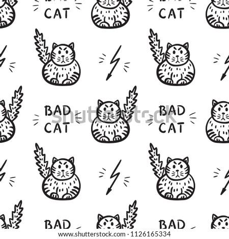 bad cat vector seamless pattern
