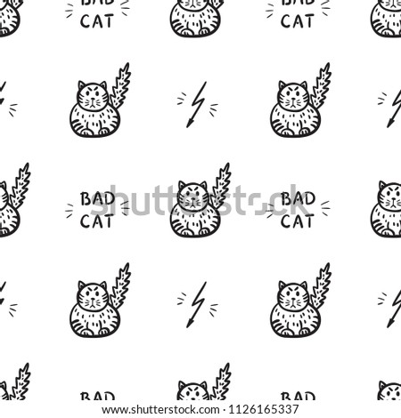 bad cat vector seamless pattern