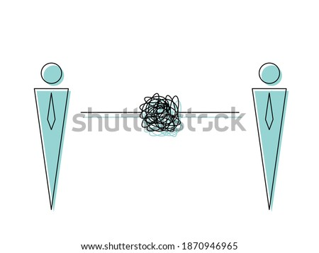 Bad communication. Colleague complicated relationship. Man and Man symbol with doodle line. Problem resolve control. Don't understand. Communicate not clear. minimal concept vector illustration. Stock photo ©