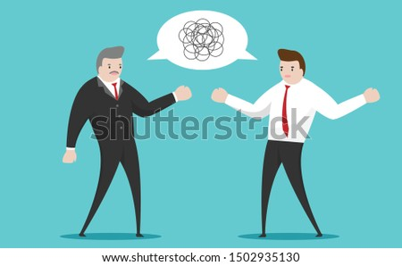 Bad communication. Executive talking to employee with confusing words.  communicating a false message.