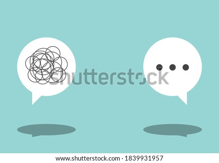 Bad communication speech bubble sign. Problem resolve control. Don't understand. Communicate not clear. Business concept flat vector illustration. Foto stock ©