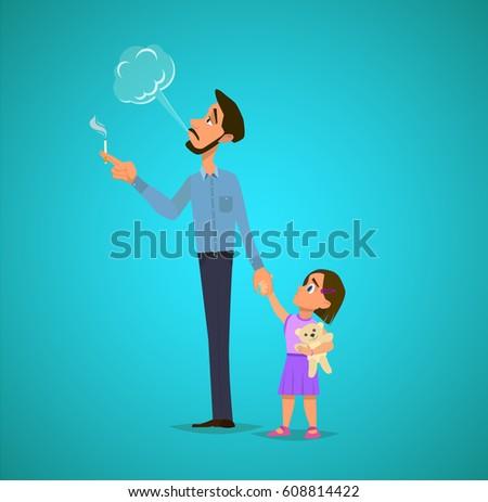 bad dad smokes near his