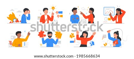 Bad, failed, unsuccessful teamwork, coflict in partnership concepts. Business difficulties and failures. Betray of partners. Failed business, Startup failure. Set of flat cartoon vector illustrations Сток-фото ©