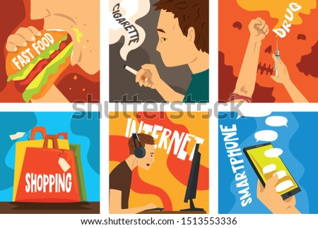 Bad habits and addictions of modern society set, cigarette, drug, alcohol, fast food, gadgets, shopping addiction vector Illustrations