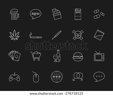 bad habits chalk linear icons
