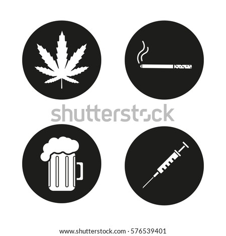 bad habits icons set marijuana