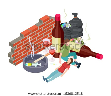 Bad habits. Isometric addictions concept. Vector people with addiction. Alcohol, drugs, nicotine. Homeless people with bad habits
