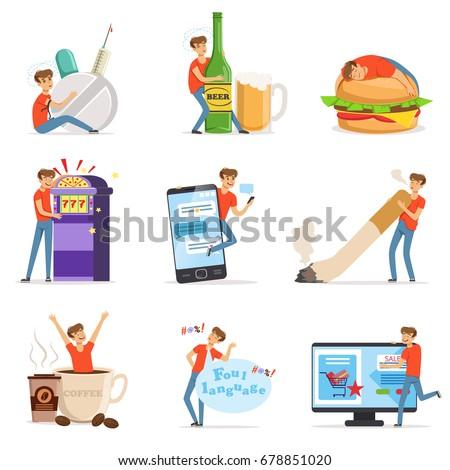 Bad habits set, alcoholism, drug addiction, smoking, gambling addiction, smartphone, shopping, coffeemania, gluttony with obesity vector Illustrations