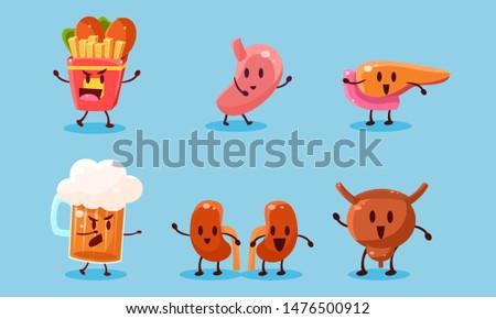 Bad Habits Set, Destruction of Human Organs, Harmful Dependance of Alcohol and Fast Food Vector Illustration