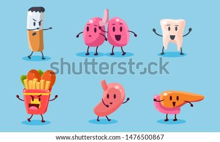 Bad Habits Set, Destruction of Human Organs, Harmful Dependance of Cigarettes and Fast Food Vector Illustration