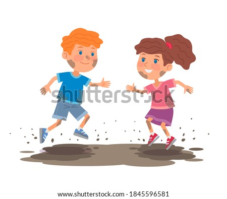 Bad kids plying in mud. Little boy and girl jumping in dirty mud puddle outdoor. Manners and behavior vector illustration. Choldren in dirty clothes isolated on white background.
