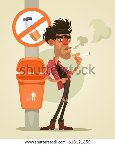 Bad man character smoking under sign no smoke. Vector flat cartoon illustration