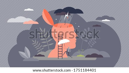 Bad mood vector illustration. Emotion concept of a flat tiny person. Sad depression feeling visualized with abstract thunderstorm clouds and rain in open head. Psychologist help needed scene. Foto d'archivio ©