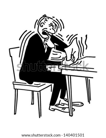 Bad News - Man receiving letter from IRS - Retro Clip Art Illustration
