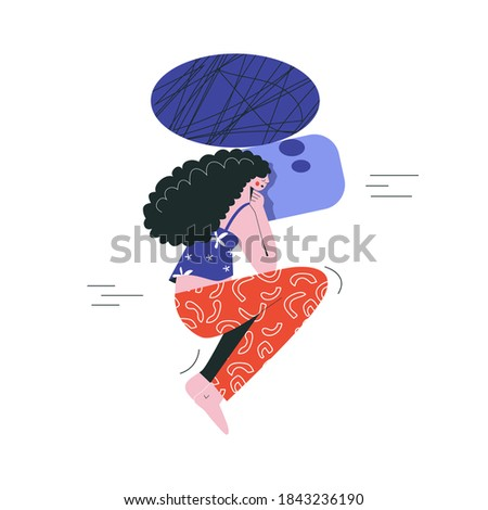 Bad night sleep concept. Sleeping discomfort, insomnia, nightmire, disturbed. Woman awake in stress. Night terrors. Girl thoughts in a dream, thinking about work flat vector illustration
