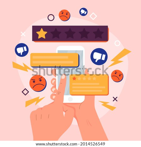 Bad review concept design. Online negative user feedback.  Customer experience ranking. Dislike, complaint, bad rate. Web comment. Angry client testimonial. Social survey result. Vector illustration.