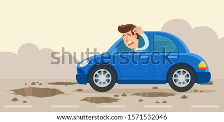 Bad road, pits and potholes on asphalt. Bad quality of road surface. Driver shocked by the poor condition of the road. Very danger road for transport. Vector illustration flat design cartoon style.