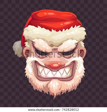 Bad Santa mask on transparent background. Scary Santa Claus face icon. Vector Christmas or Helloween costume element.