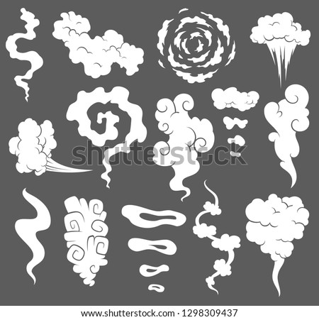 Bad smell. Smoke clouds. Steam smoke clouds of cigarettes or expired old food vector cooking cartoon icons. Illustration of smell vapor, cloud aroma.