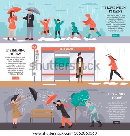 Bad weather horizontal bammers set with rain and wind symbols flat isolated vector illustration
