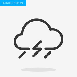 Bad Weather Icon Rain Editable Stroke. Pixel Perfect. - Vector