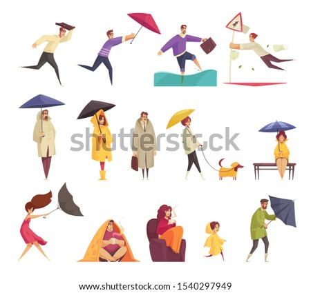 Bad windy rainy weather funny cartoon icons set with people holding flipping inside out umbrellas vector illustration