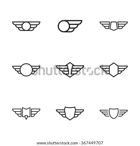 Badge and shield with wings. Symbol of military and civil aviation.