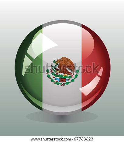 Badge button with flag of Mexico