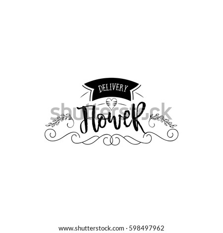 Badge for small businesses - Flower shop Counter Staff. Sticker, stamp, logo - for design, hands made. With the use of floral elements, calligraphy and lettering