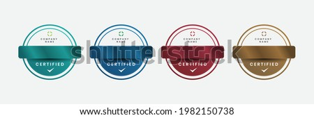 Badge luxury certificates modern logo company. Vector illustration certified logo with outline design.
