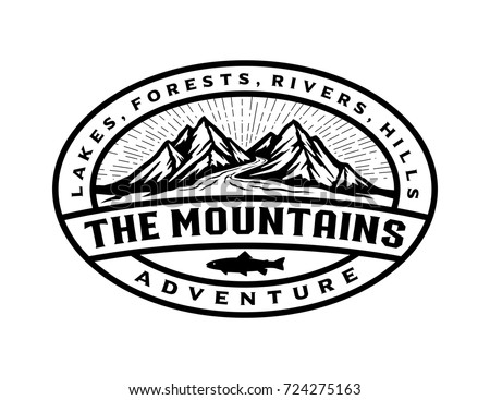badge mountains logo template