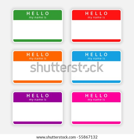 Badge name tag HELLO my name is. <b>Colorful blank label with shadow on gray background