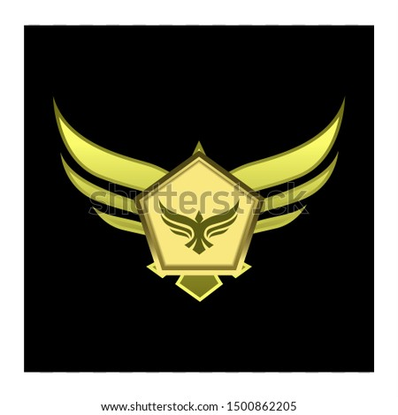badge or emblem with wings for gui.